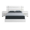 Icon Italian Eastern King Bed White High Gloss & Chrome Foil Trim