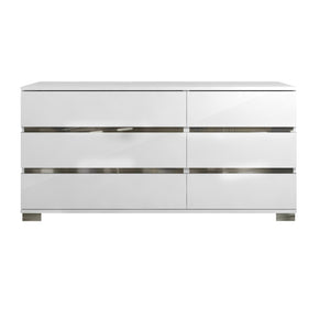Star International Furniture 2106.WHG Icon Double Dresser White High Gloss, Chrome Foil Trim | Acrylic Lacquer