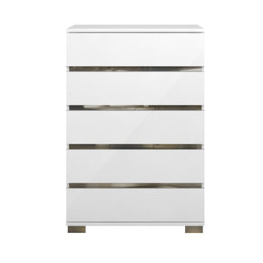 Star International Furniture 2105.WHG Icon High Chest White High Gloss, Chrome Foil Trim | Acrylic Lacquer