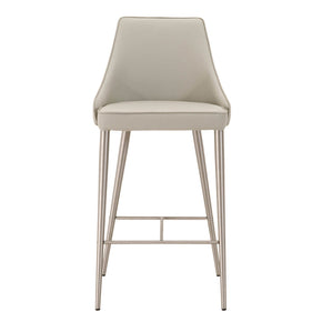 Star International Furniture 1618CS.SYN.LGRY Ivy Counter Stool Light Grey Synthetic, Brushed Stainless Steel