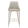 Ivy Counter Stool Light Grey Synthetic, Brushed Stainless Steel