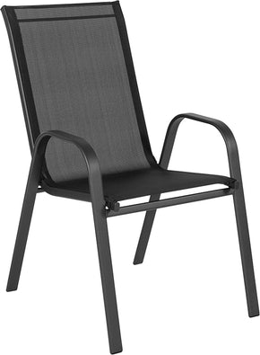 Flash Furniture JJ-303C-GG Brazos Series Black Outdoor Stack Chair with Flex Comfort Material and Metal Frame 889142337232