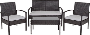 Flash Furniture JJ-S312-GG Aransas Series 4 Piece Black Patio Set with Steel Frame and Gray Cushions 889142337256