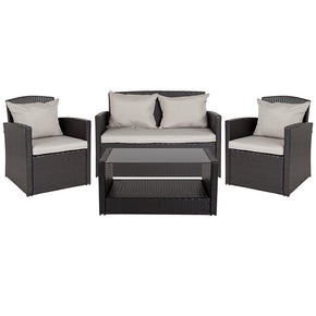 Flash Furniture JJ-S351-GG Aransas Series 4 Piece Black Patio Set with Gray Back Pillows and Seat Cushions 889142337263