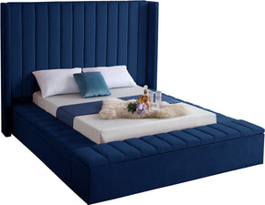 Meridian Furniture KikiNavy-K Kiki Navy Velvet King Bed 704831402223