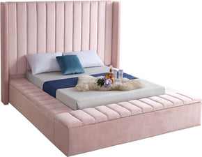 Meridian Furniture KikiPink-Q Kiki Pink Velvet Queen Bed 704831402339
