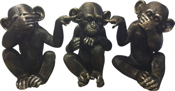 Moe's Home Collection LA-1060-02 He Did It Chimps Set Of 3 Transitional Black