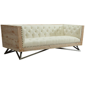 Regis Cream Sofa With Pine Frame And Gunmetal Legs | Modern Sofa by Armen Living at Contemporary Modern Furniture  Warehouse - 1