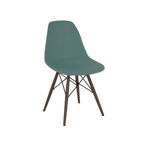 Trige Navy Green Side Chair with Walnut Wood Base (Set of 5) | Modern Dining Chair by Design Lab MN at Contemporary Modern Furniture  Warehouse - 1