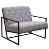 Diamond Sofa LUXECHBLWH Luxe Accent Chair in Navy & White Geo Pattern Fabric with Black Powder Coat Frame