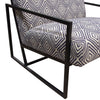 Luxe Accent Chair in Navy & White Geo Pattern Fabric with Black Powder Coat Frame