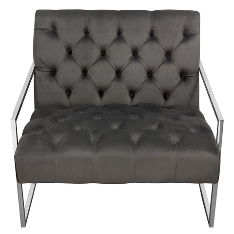 Diamond Sofa LUXECHDG Luxe Accent Chair in Dusk Grey Tufted Velvet Fabric with Polished Stainless Steel Frame