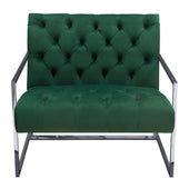 Diamond Sofa LUXECHEM Luxe Accent Chair in Emerald Green Tufted Velvet Fabric with Polished Stainless Steel Frame