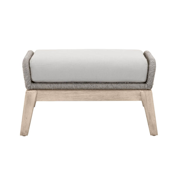 Orient Express Furniture 6817FS.PLA/SGRY/GT Loom Outdoor Footstool Platinum Rope, Smoke Gray Seat, Gray Teak