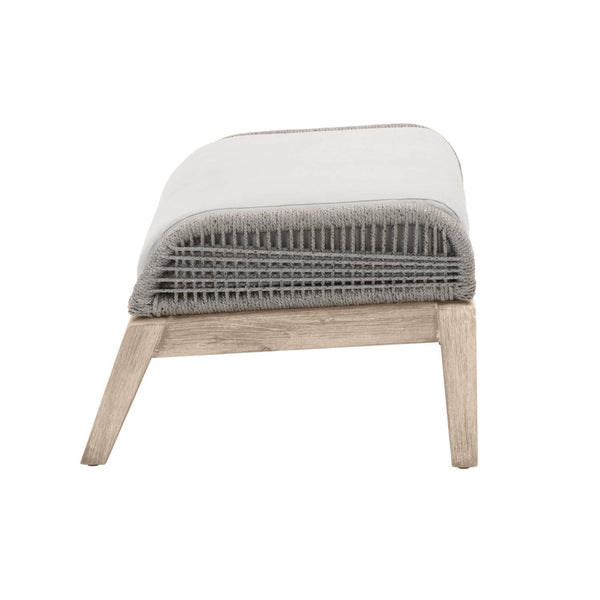 Loom Outdoor Footstool Platinum Rope, Smoke Gray Seat, Gray Teak