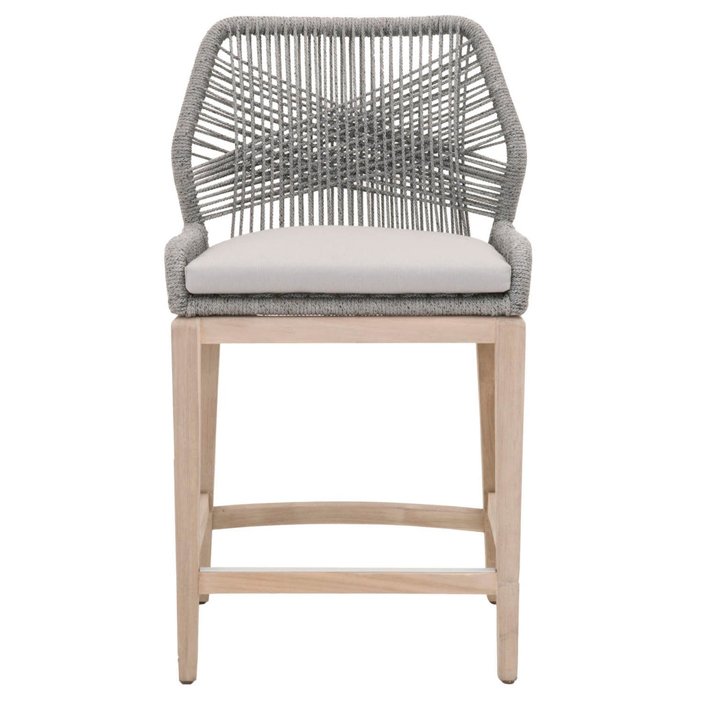 Outdoor Counter Chairs - Orient Express Furniture 6808CS.PLA/SGRY/GT Loom Outdoor Counter Stool Platinum Rope, Smoke Gray Fabric, Gray Teak | 100% Olefin, Aluminum | 842279107567 | Only $599.00. Buy today at http://www.contemporaryfurniturewarehouse.com
