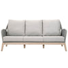 "Outdoor Armchairs - Orient Express Furniture 6817-3.PLA/SG/GT Loom Outdoor Sofa 79"" Platinum Rope, Smoke Gray Fabric, Gray Teak 