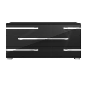 Star International Furniture 2136.BHG Lustro Double Dresser Black High Gloss, Chrome Foil Trim