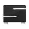 Lustro Nightstand Black High Gloss, Chrome Foil Trim