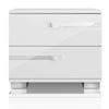 Lustro Nightstand White High Gloss, Chrome Foil Trim