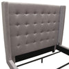 Madison Ave Tufted Wing Eastern King Bed in Light Grey Button Tufted Fabric