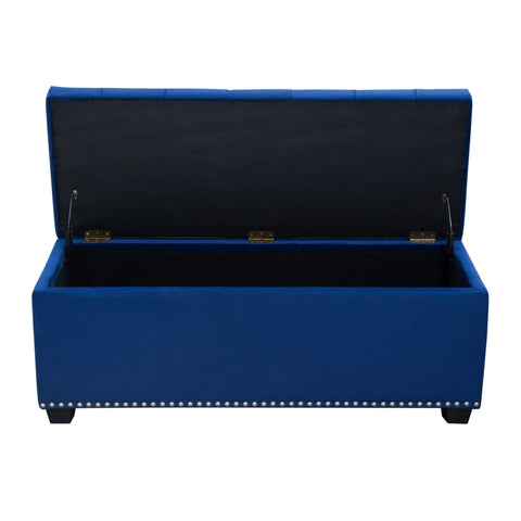 Diamond Sofa MAJESTICTRNB Majestic Tufted Velvet Lift-Top Storage Trunk w/ Nail Head Accent - Royal Blue Velvet
