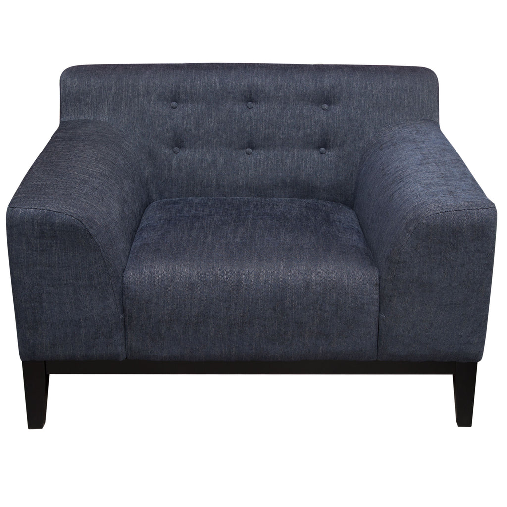 Diamond Sofa MARQUEECHBU Marquee Tufted Back Chair in Panama Blue Fabric with Accent Pillows