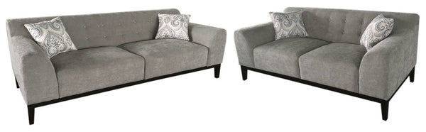 Diamond Sofa MARQUEESLMS Marquee Tufted Back Sofa & Loveseat 2PC Set in Moonstone Fabric with Accent Pillows