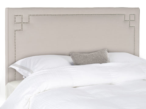 Headboards - Safavieh MCR4014A Remington Taupe Headboard - Silver Nail Head Queen | 683726764489 | Only $260.20. Buy today at http://www.contemporaryfurniturewarehouse.com