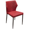 Milo 4-Pack Dining Chairs in Red Diamond Tufted Leatherette with Black Powder Coat Legs