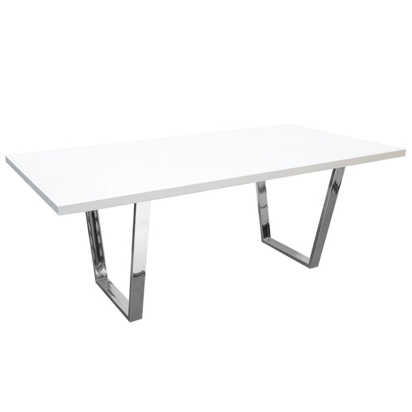 Diamond Sofa MIRAGEDTWH Mirage Rectangular Dining Table w/ White Lacquer Top and Chrome Base