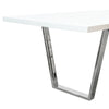 Mirage Rectangular Dining Table w/ White High Gloss Lacquer Top and Chrome Base