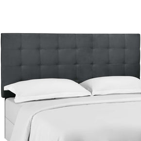 Modway MOD-5856-GRY Paisley Tufted King and California King Upholstered Performance Velvet Headboard Gray
