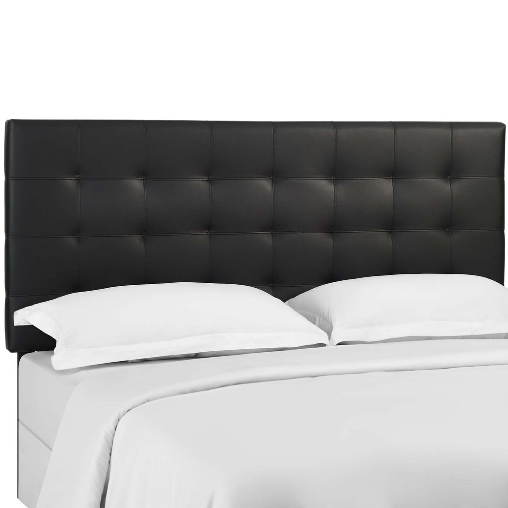Modway MOD-5857-BLK Paisley Tufted King and California King Upholstered Faux Leather Headboard Black