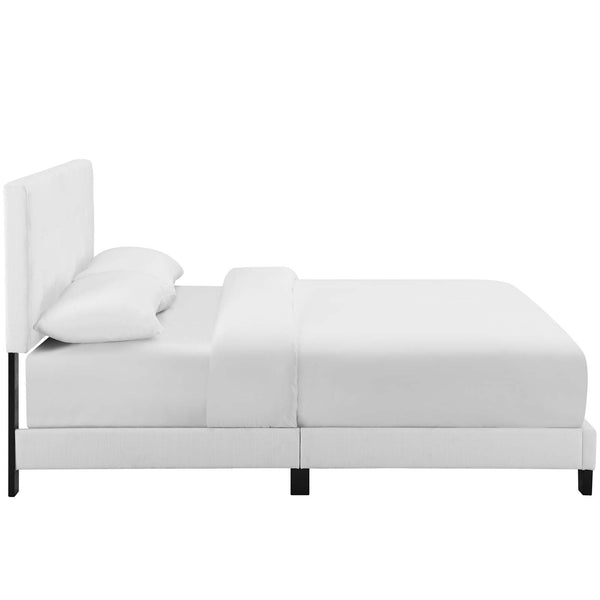 Melanie Twin Tufted Button Upholstered Fabric Platform Bed