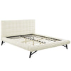 Julia Queen Biscuit Tufted Upholstered Fabric Platform Bed