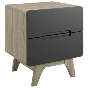 Modway MOD-6073-NAT-GRY Origin Wood Nightstand or End Table Natural Gray