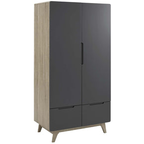 Modway MOD-6077-NAT-GRY Origin Wood Wardrobe Cabinet Natural Gray