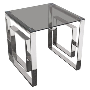 Diamond Sofa MUSEETSS Muse Square End Table with Smoked Tempered Glass Top and Polished Stainless Steel Base
