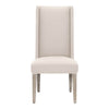 Morgan Dining Chair (Set of 2) Stone Linen, Natural Gray | Silver Nails