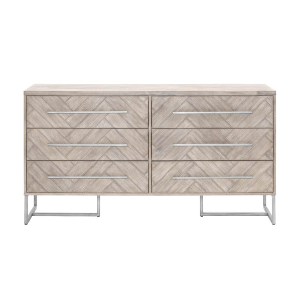 Dressers - Orient Express Furniture 6049.NG Mosaic Double Dresser Natural Gray, Brushed Stainless Steel | 842279110253 | Only $1609.00. Buy today at http://www.contemporaryfurniturewarehouse.com