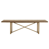 Orient Express Furniture 6084-L.RJAV Mosaic Extension Dining Table Rustic Java, Brushed Gold | Acacia Veneer