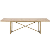 Orient Express Furniture 6084-L.SW Mosaic Extension Dining Table Stone Wash, Brushed Gold | Acacia Veneer