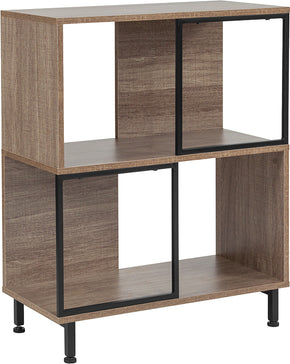 "Flash Furniture NAN-JN-21805B-1-GG Paterson Collection 26""W x 31.5""H Rustic Wood Grain Finish Bookshelf and Storage Cube 889142339052"