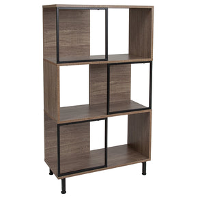 "Flash Furniture NAN-JN-21805B-2-GG Paterson Collection 26"" x 45.25"" Rustic Wood Grain Finish Bookshelf and Storage Cube 889142339069"
