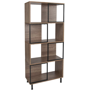 "Flash Furniture NAN-JN-21805B-3-GG Paterson Collection 26"" x 58.75"" Rustic Wood Grain Finish Bookshelf and Storage Cube 889142339076"