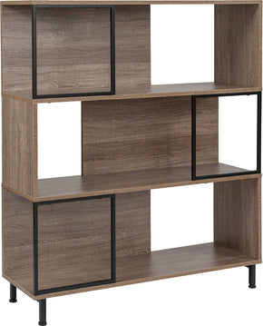 "Flash Furniture NAN-JN-21805B-4-GG Paterson Collection 39.5""W x 45""H Rustic Wood Grain Finish Bookshelf and Storage Cube 889142339083"