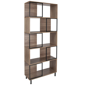 "Flash Furniture NAN-JN-21805B-5-GG Paterson Collection 29.75"" x 72.25"" Rustic Wood Grain Finish Bookshelf and Storage Cube 889142339090"
