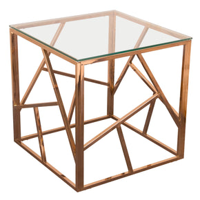 Diamond Sofa NESTETRG Nest Square End Table with Clear Tempered Glass Top and Polished Stainless Steel Base in Rose Gold Finish