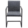 Nolan 2-Pack Dining Chairs in Charcoal Diamond Tufted Leatherette on Charcoal Powder Coat Frame
